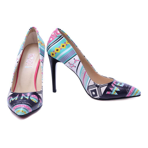 Blue Pattern Heel Shoes STL4407, Goby, GOBY Heel Shoes