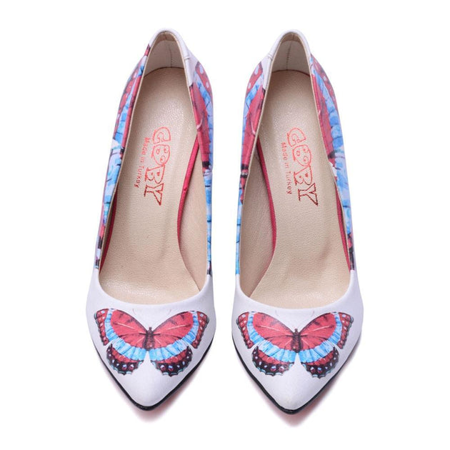 Red and Blue Butterfly Heel Shoes STL4502