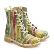 GOBY Colored Striped and Snow Crystals Long Boots TMB1022 Women Long Boots Shoes - Goby Shoes UK