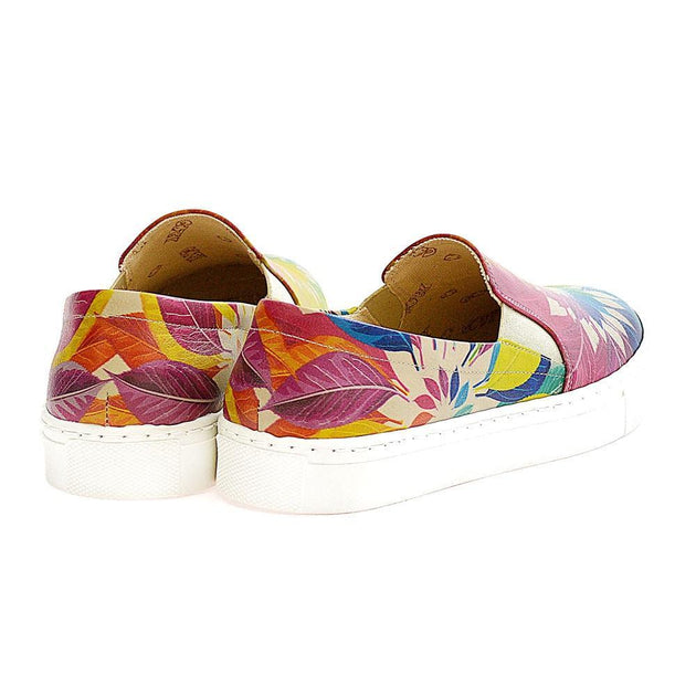GOBY Colored Leaves Slip on Sneakers Shoes VN4003 Women Sneakers Shoes - Goby Shoes UK
