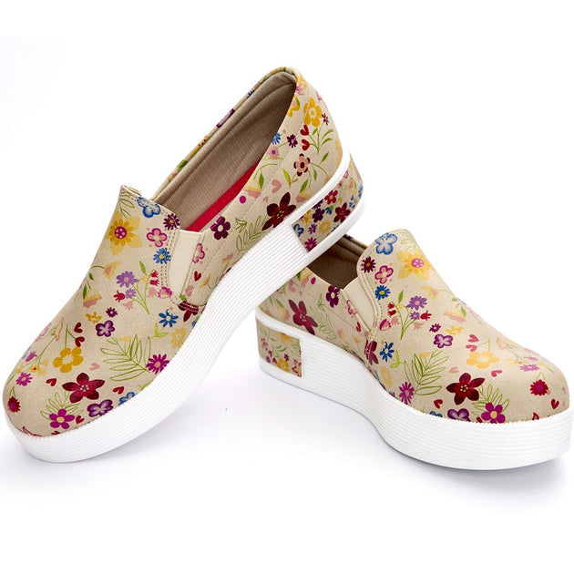 Goby VN4214 Flowers Women Sneakers Shoes - Goby Shoes UK