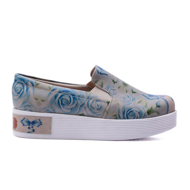 GOBY Flowers Slip on Sneakers Shoes VN4217 Women Sneakers Shoes - Goby Shoes UK