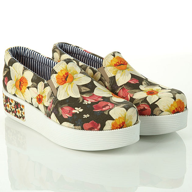 Goby VN4307 Flowers Women Sneakers Shoes - Goby Shoes UK