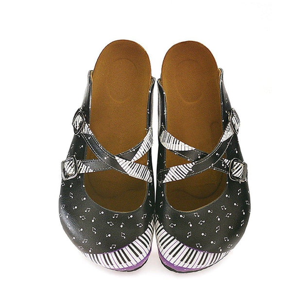 CALCEO Purple, Black and White Colored, Music Notes Piano Patterned Clogs - WCAL115 Clogs Shoes - Goby Shoes UK