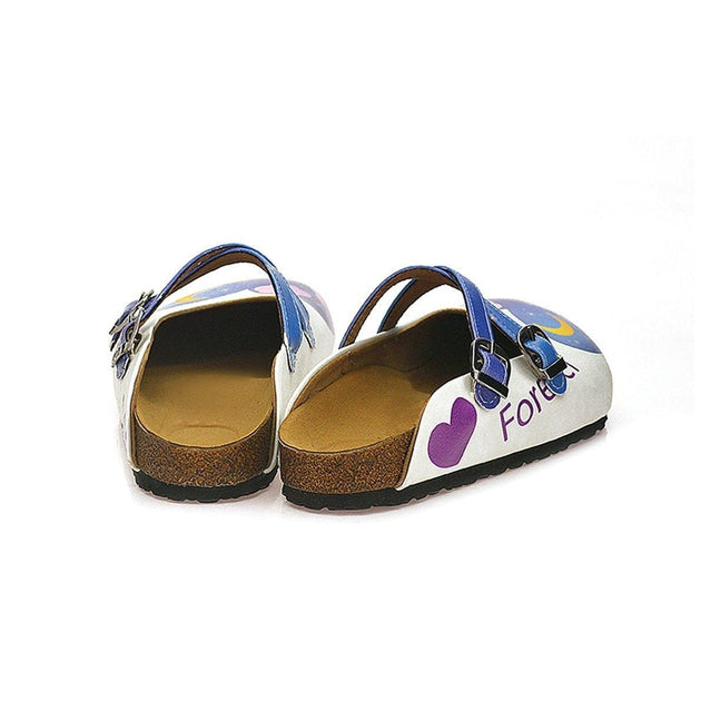 CALCEO Blue Colored Nighttime Heart, Purple Colored Sweet Cat Patterned Clogs - WCAL116 Women Clogs Shoes - Goby Shoes UK