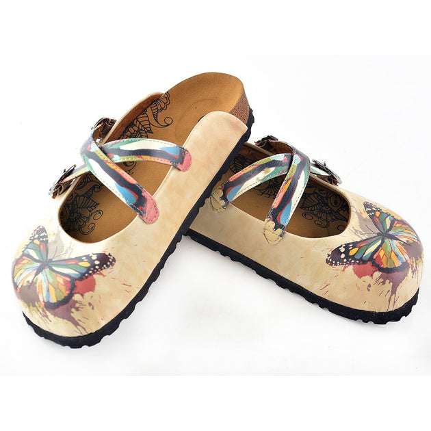Calceo WCAL119 Tan Rainbow Butterfly Clogs Clogs Shoes - Goby Shoes UK