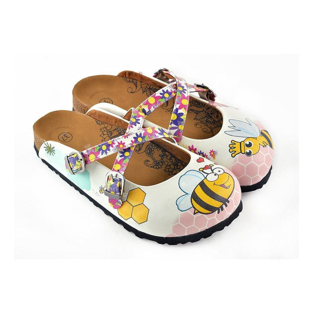 CALCEO Colorful Flowers and Yellow Colored Sweet Bee Patterned Clogs - WCAL123 Women Clogs Shoes - Goby Shoes UK