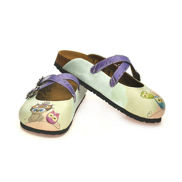 CALCEO Purple Colored and Sweet Bear, and Colorful Owl Patterned Clogs - WCAL124 Clogs Shoes - Goby Shoes UK