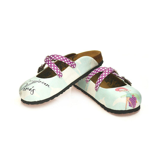 CALCEO Purple and White Colored Polkadot, Bonjour Paris Written, Cute Girl Patterned Clogs - WCAL125 Clogs Shoes - Goby Shoes UK