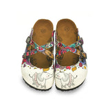 Calceo WCAL126 White Elephant Cross-Strap Clogs Clogs Shoes - Goby Shoes UK