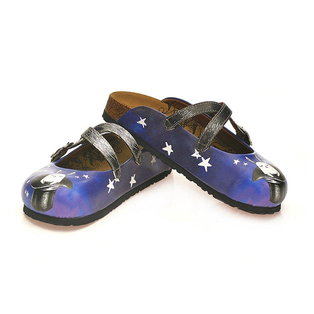 CALCEO Black and White Striped and Navy Blue, White Stars and Rabbit, Black Hat Patterned Clogs - WCAL127 Women Clogs Shoes - Goby Shoes UK