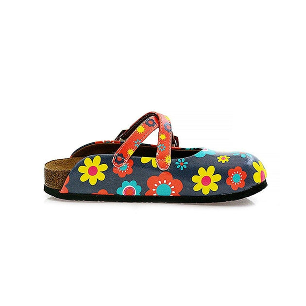 CALCEO Blue and Colorful Flowers Patterned Clogs - WCAL129 Women Clogs Shoes - Goby Shoes UK