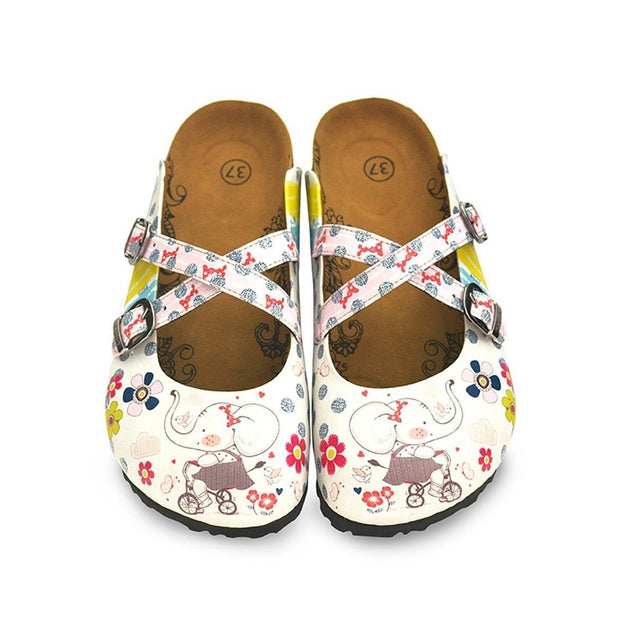 CALCEO Blue and White Colored Flowers, Cute Elephant Patterned Clogs - WCAL131 Women Clogs Shoes - Goby Shoes UK