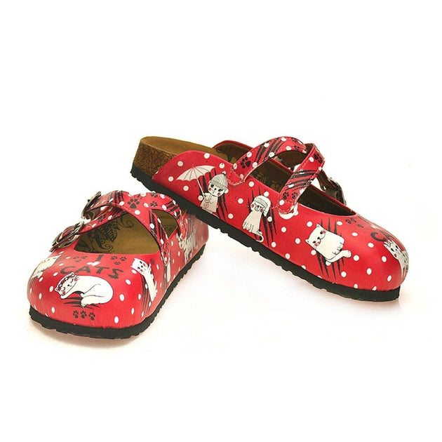 CALCEO Red and White Colored Polkadot and Paw, White Sleeping Cat Patterned Clogs - WCAL132 Clogs Shoes - Goby Shoes UK