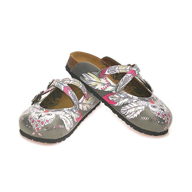 CALCEO Grey Colored, Colorful Feathers, Owl Patterned Clogs - WCAL133 Women Clogs Shoes - Goby Shoes UK