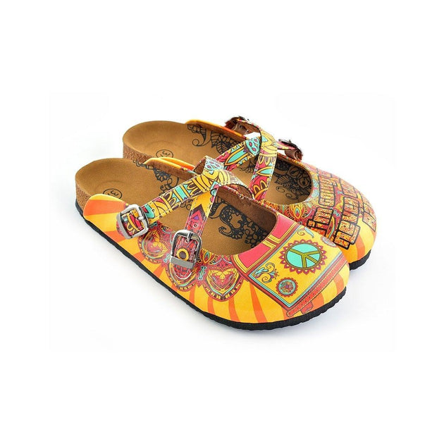CALCEO Red and Yellow Colored Flowered Caravan Patterned Clogs - WCAL134 Clogs Shoes - Goby Shoes UK