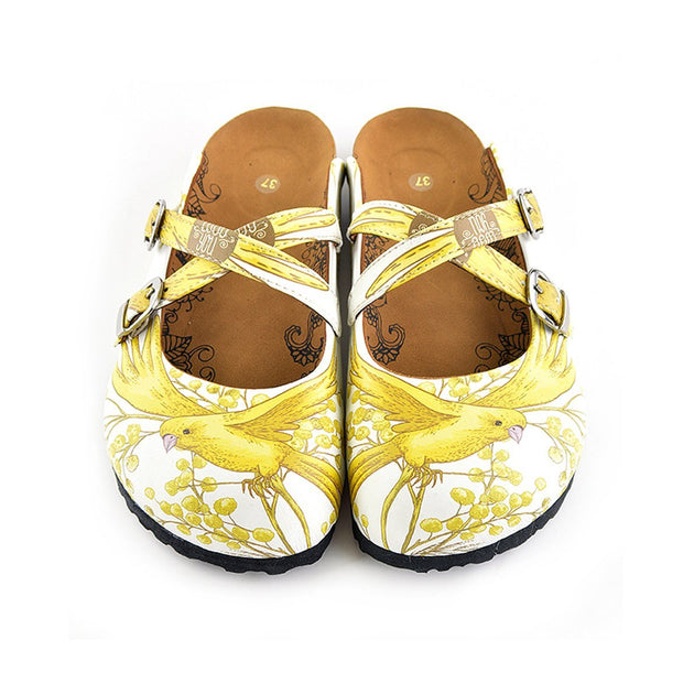 Calceo WCAL135 Yellow & White Bird Cross-Strap Clogs Clogs Shoes - Goby Shoes UK