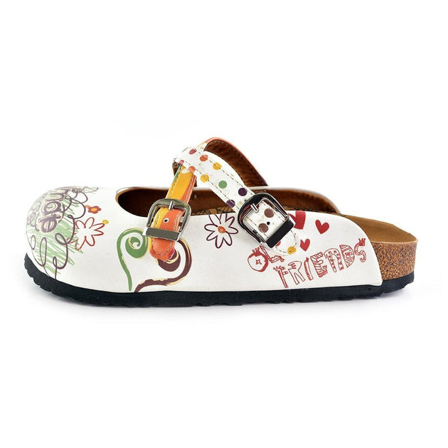 CALCEO Rainbow Polkadot and Striped, Green, Purple Colored Soulmate Written Patterned Clogs - WCAL136 Clogs Shoes - Goby Shoes UK