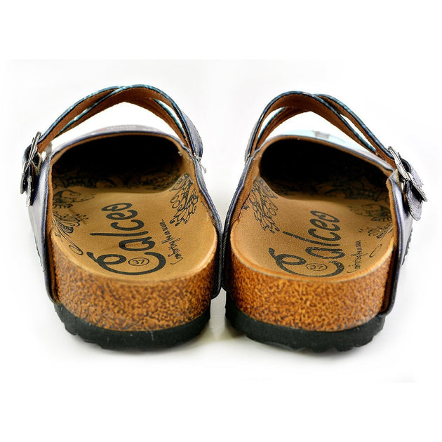 CALCEO Blue Colored Striped Pattern and I Love You to the Moon and Black Written Patterned Clogs - WCAL138 Women Clogs Shoes - Goby Shoes UK