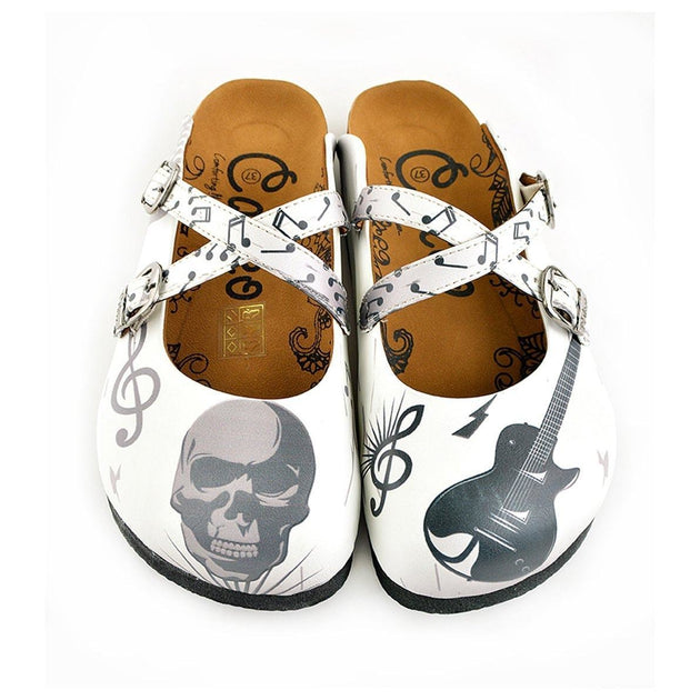White and Grey Colored Music Notes and Dry Skull Patterned Clogs - WCAL141
