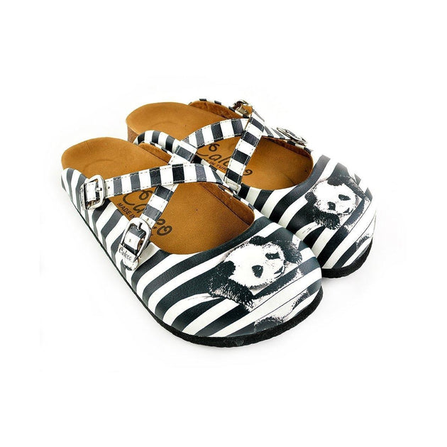 CALCEO Black and White Straight Striped and Navy Blue, White Stars and Rabbit, Black Hat Patterned Clogs - WCAL143 Women Clogs Shoes - Goby Shoes UK