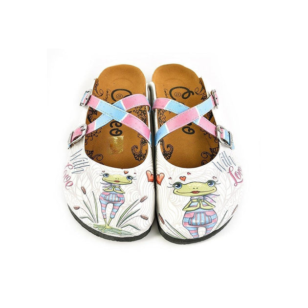 CALCEO Pink, Blue Colored Striped and Love Frog Patterned Clogs - WCAL148 Clogs Shoes - Goby Shoes UK