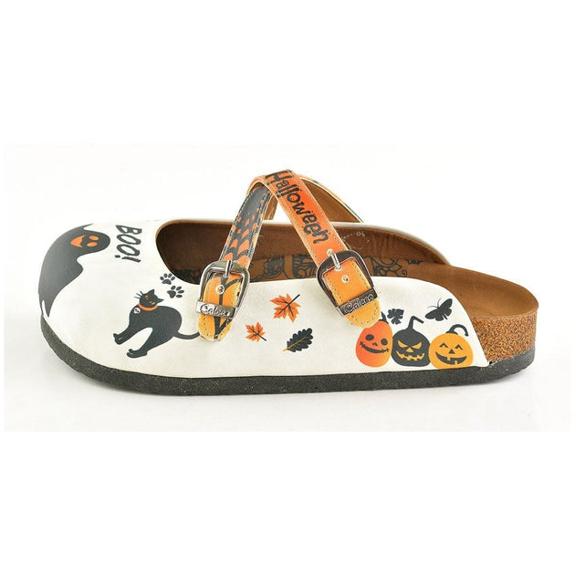 CALCEO Orange and Black Colored and Cute Spider Patterned, Happy Halloween, Patterned Clogs - WCAL150 Clogs Shoes - Goby Shoes UK