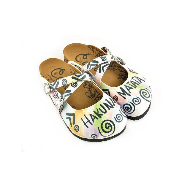 CALCEO Colorful Leafed and Black Triangular Strip and Round Patterned, Hakuna Matata Written Patterned Clogs - WCAL152 Women Clogs Shoes - Goby Shoes UK