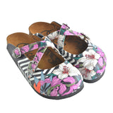 CALCEO Black and White Straight Striped and Colorful Flowers Patterned Clogs - WCAL153 Women Clogs Shoes - Goby Shoes UK