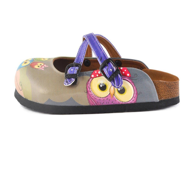 CALCEO Navy Blue and Purple Colored, Cute Bear and Owl Patterned Clogs - WCAL155 Clogs Shoes - Goby Shoes UK