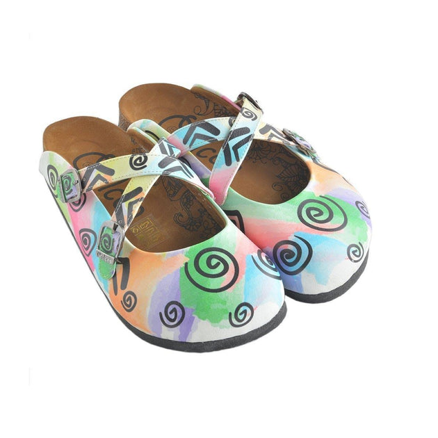 CALCEO Colorful Watercolor Pattern and Black Swril, Triangular Patterned Clogs - WCAL156 Women Clogs Shoes - Goby Shoes UK