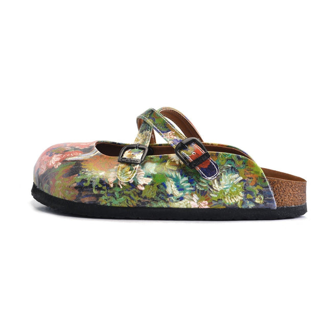 CALCEO Colorful Rose Garden Patterned Clogs - WCAL159 Women Clogs Shoes - Goby Shoes UK