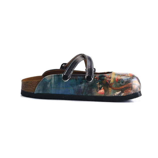 CALCEO Black Colored, Renaissance Tabled Patterned Clogs - WCAL160 Women Clogs Shoes - Goby Shoes UK