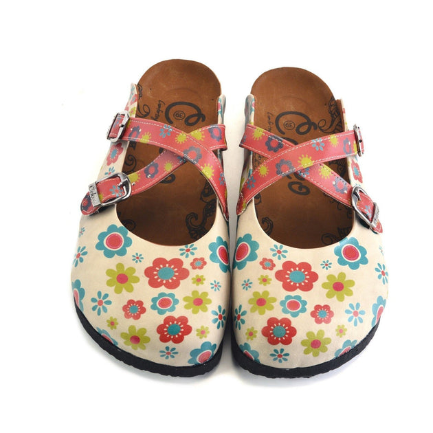 CALCEO Red, Blue, Beige, Yellow Flowers Patterned Clogs - CAL161 Clogs Shoes - Goby Shoes UK
