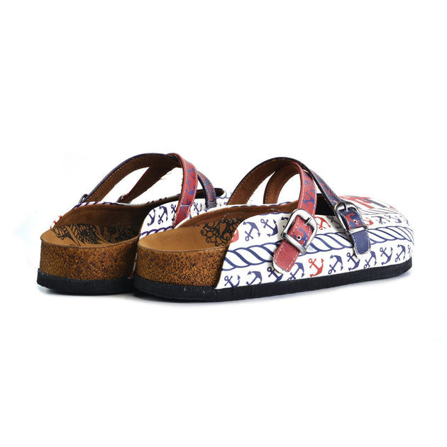 CALCEO Red and Navy Blue Colored Anchor Patterned Clogs - WCAL163 Clogs Shoes - Goby Shoes UK