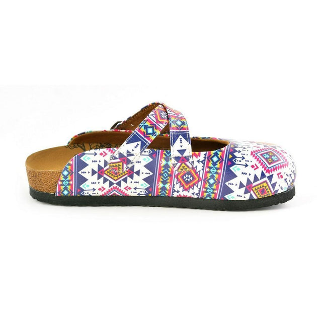 CALCEO Pink, Blue, White Colored Geometric Patterned Clogs - WCAL166 Clogs Shoes - Goby Shoes UK