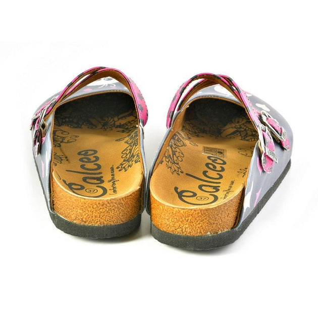 CALCEO Grey and Pink Love, Cute Alien Patterned Clogs - WCAL167 Women Clogs Shoes - Goby Shoes UK