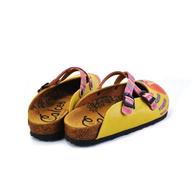 CALCEO Pink, Green Striped, Yellow Pattern Kiss Child Patterned Clogs - WCAL170 Clogs Shoes - Goby Shoes UK