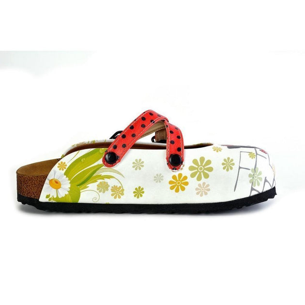 CALCEO Red and Black Polkadot Pattern Cute Girl Patterned Clogs - WCAL171 Clogs Shoes - Goby Shoes UK