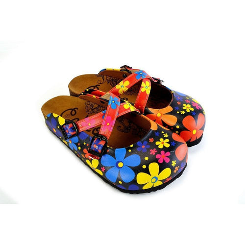 CALCEO Red and Black Colored Flowers Patterned Clogs - WCAL172 Clogs Shoes - Goby Shoes UK