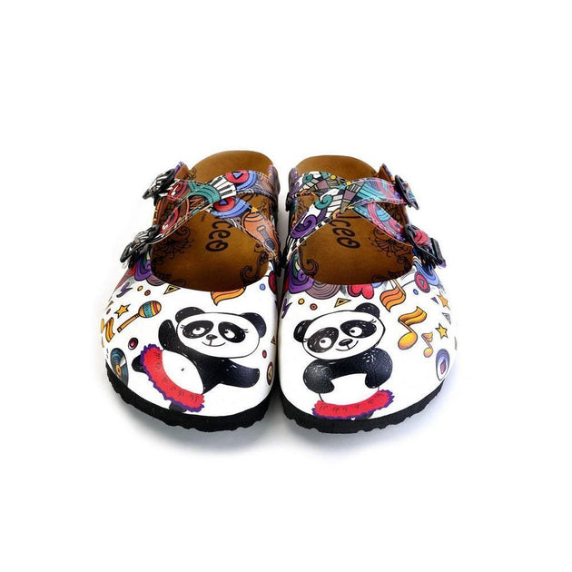 CALCEO Colorful Moving and Mixed Patterned and White Dancing Panda Patterned Clogs - WCAL176 Women Clogs Shoes - Goby Shoes UK