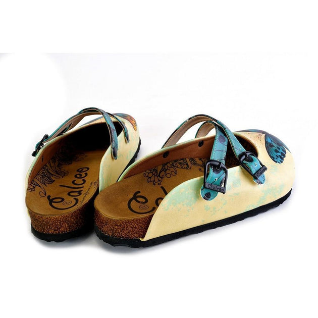 Yellow and Blue Colored Butterfly Patterned Clogs - WCAL178