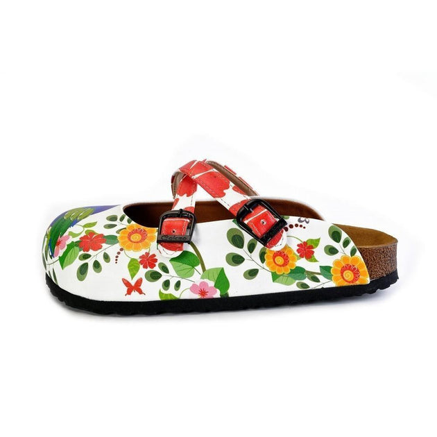 CALCEO Red Hearted and Colored Flowers and Yellow, Blue Birds Patterned Clogs - WCAL179 Clogs Shoes - Goby Shoes UK