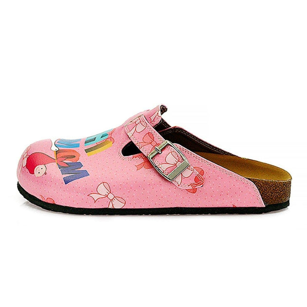 CALCEO Pink and White Pow Pattern, Hi Mom Written Patterned Clogs - WCAL323 Clogs Shoes - Goby Shoes UK