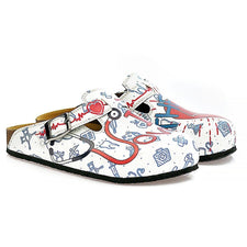 CALCEO Blue, Red and White Colored Doctor Patterned Clogs - WCAL325 Women Clogs Shoes - Goby Shoes UK