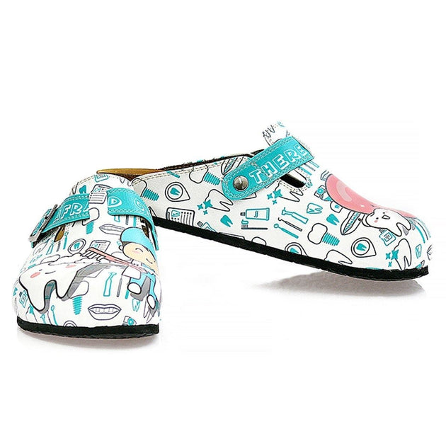 White and Blue Aqua Dentist Patterned Clogs - WCAL326