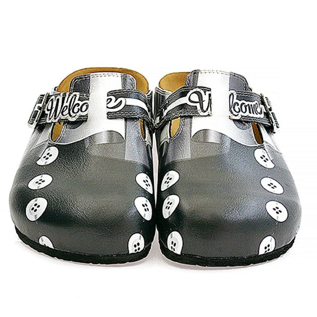 CALCEO Black, Grey, White Straight Striped, Black Button Patterned Clogs - WCAL327 Women Clogs Shoes - Goby Shoes UK