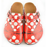 CALCEO Red and White Polkadot, Red Colored Bow Clogs - WCAL328 Clogs Shoes - Goby Shoes UK