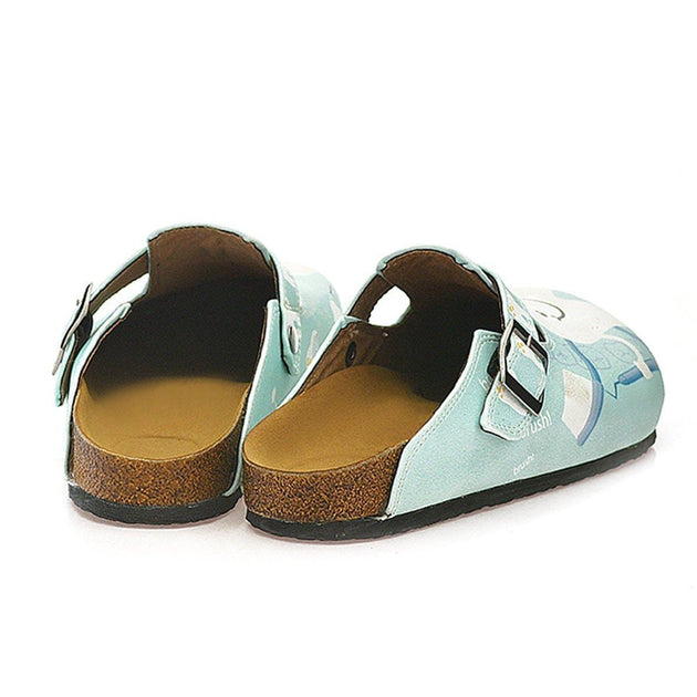White and Light Blue Colored Dentist Patterned Clogs - WCAL329