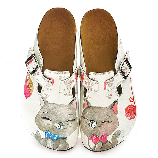 CALCEO Pink Colored Paw, Grey Cute Cat Patterned Clogs - WCAL330 Clogs Shoes - Goby Shoes UK